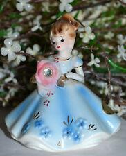 Vintage Josef April Diamond Birthday Brown Hair Girl Figure, Pretty In Blue!