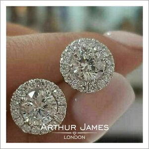Diamond Earrings 2 Ct Round Cut Screw Back Halo Stud Gemstone White Gold Jewelry