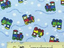 Choo Choo Engines Trains Light Blue Boys Nursery Kids Flannel Fabric  BTY (G3) ^