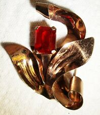Vintage 40's STERLING Silver Rose Gold Vermeil Ruby Red Glass Brooch~ 29.72 gram