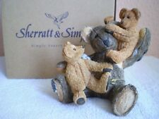 Sherratt & Simpson : Resin Teddy Bear : Bear With Baby on Knee & Shoulder  57133