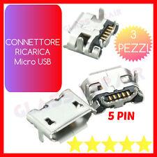 3 PZ CONNETTORE RICARICA Micro USB 5 PIN - 4 Piedini CARICA x TABLET SMARTPHONE