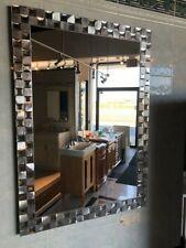 Bathroom Vanity Wall Mirror Steel Mosaic Rectangle Frameless 24X32 Large Silver
