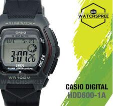 Casio Hdd-600-1av 10 Year Battery Digital Dual Time Sport Black Strap Watch