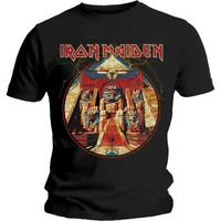 OFFICIAL LICENSED - IRON MAIDEN - POWERSLAVE LIGHTNING CIRCLE T SHIRT - METAL