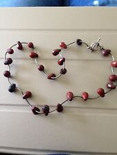 Sterling Silver & Red Jasper Bar & Bead Necklace 925 Pear Cut Stones