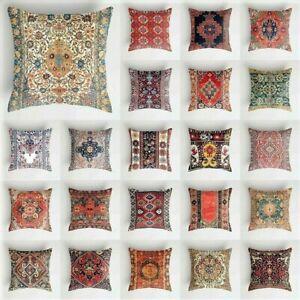 "BOHEMIA CUSHION COVER 17"" Kelim Tile Pattern Red Blue Plum White Orange Green"