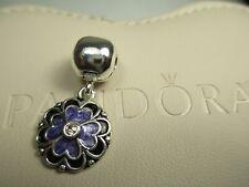 S925 Authentic Dogwood ALE Purple Silver Pandora Charm Bead #790957CZS