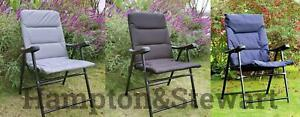 Heavy Duty Luxury Padding Folding Padded Deck Chair For Outdoor Garden Camping