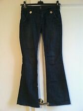 Anlo Tab Front/Back Flap Pocket Gold Button Flare Leg Dark Wash Jeans, 26