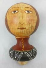 ARCHITECTURAL SALVAGE Primitive Face on Wood Ball Top Newel Post Cap FOLK ART