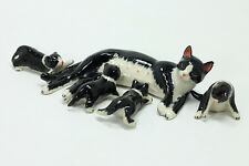 Miniature Ceramic Animals tuxedo cat Figurine Statue for Decorative Collectibles