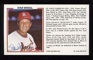 Stan Musial Signed Postcard Autographed Photo Postcard Baseball Hall of Fame