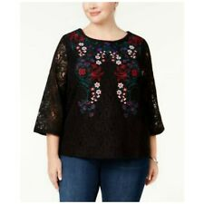 Charter Club Blouse Embroidered Floral Lace Top Deep Black Womens Plus Size 1X
