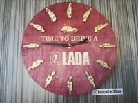 Round clock made of Russian wood with LADA 2101 2109 2105 niva 2103 2106 logo