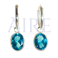 925 Sterling Silver Small Sleeper Style Hoop Earrings with Blue Oval Stone