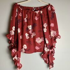 Charlotte Russe off the shoulder pink floral top size XS. Ruffled Sleeves Boho