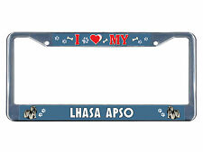 Lhasa Apso Dog I heart Chrome Metal License Plate Frame Tag Border