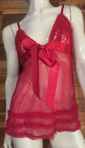 FREDERICK'S of HOLLYWOOD RED SIZE LARGE BABYDOLL NGIHTGOWN STYLE 4983   #7675