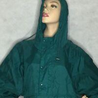Vintage Barbara Moss Sz L Windbreaker Pullover Jacket Packable Green 80s 90s