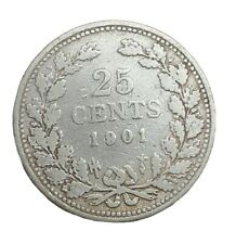 Zeldzame 25 cent, Wilhelmina, 1901, zilver,