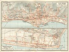 1924 MUIRHEAD ANTIQUE TOWN PLAN-ITALY- SAN REMO/BORDIGHERA, 2 IMAGES