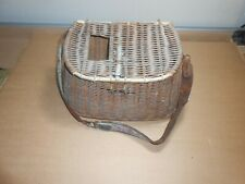old wicker fish basket creel with leather strap