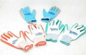 3 Pairs Groupe BBH Women's Latex Foam Gardening Gloves - OS - Green/Blue/Red
