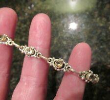 """Sterling Silver Citrine Link Style Adjustable Bracelet 7"""" NWT"""