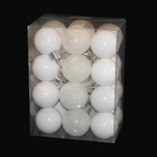 Christmas Tree Decoration 24 Pack 30mm Mini Shatterproof Baubles - WHITE
