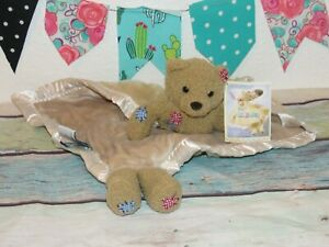 NWT My Lil Banky Teddy Bear Button Billy Brown Patch Lovey Security Blanket Toy
