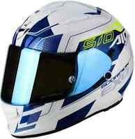 CASCO MOTO INTEGRALE SCORPION EXO 510 AIR GALVA PEARL WHITE/BLUE PINLOCK