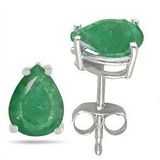 7x5 Pear Shape Emerald Earrings in Sterling Silver