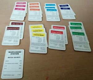 Monopoly Title Deeds Incomplete Set Spares Replacement Cards