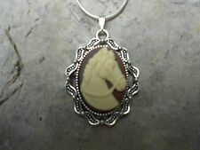 BEAUTIFUL HORSE CAMEO NECKLACE (CREAM ON BROWN)!! .925 SILV. PLATE CHAIN!!!