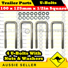 4 x U-Bolts 100mm x 125mm Square with Nuts Galvanized Trailer Box Boat Caravan