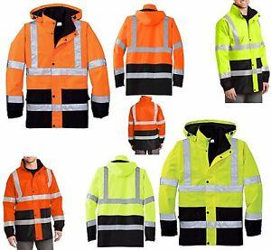 MEN'S CLASS 3, REFLECTIVE SAFETY RAIN COAT, WATERPROOF, HIDE-AWAY HOOD, S-4XL