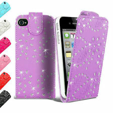 Jewelled Bling Glitter Diamond PU Leather Flip Case Cover pouch for Apple iPhone
