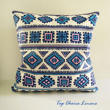 45cm x 45cm Blue/Navy/Pink Ethnic Print Suede Look Cushion Cover