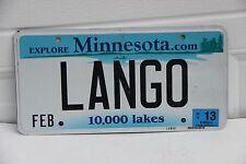 Minnesota License Plate personalized LANGO.   Explore Minnesota  10,000 Lakes