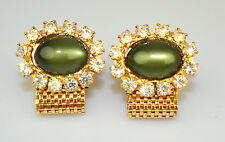 VINTAGE GOLD PLATED LARGE OVAL GREEN THERMOSET & RHINESTONE MESH WRAP CUFFLINKS