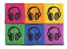 HEADPHONES andy warhol style EMBROIDERED PATCH - *FREE SHIPPING* -dj P-3558