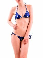 Wildfox Women's Stars Away Gingham Reversible Bikini Top Blue M RRP £54 BCF76