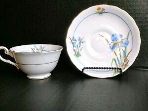 Pre-1967 Vintage Tuscan Fine Bone China- Blue Iris Tea Cup & Saucer Set- England