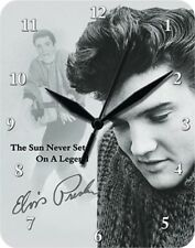 ELVIS PRESLEY THE SUN NEVER SETS ON A LEGEND - Blechuhr Wanduhr Uhr Clock 80