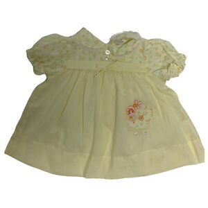 Vintage Roanna Short Sleeve Yellow Dress Baby 12 Months (A-2D)
