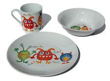3 Piece Children's Dining Set Monsters Design Fine Porcelain Plate Bowl Mug