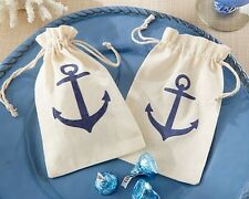 12 Anchor Muslin Favor Bags Candy Sweets Treats Wedding Reception Favor Party