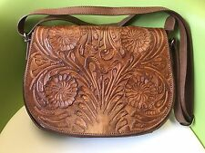 Messenger Bag ~ Vintage Style 100% Leather ~ Dark Tan Real Cow Hide
