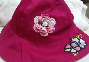 NEW FADED GLORY HAT SUNHAT w/ HANDMADE ROSE GIRLS TODDLER ONE SIZE TODDLER PINK